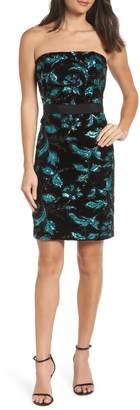 Sam Edelman Strapless Sequin Velvet Sheath Dress