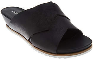 VANELi Leather Cross Band Low Wedge Slides -Hilde