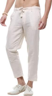 Hotmiss Men's Casual Drawstring Straight Fit Beach Linen Capri Pants
