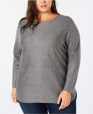 INC International Concepts I.n.c. Plus Size Embellished Shirttail Sweater