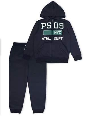 Aeropostale P.S.09 From p.s.09 from Graphic Zip Hoodie with Drawstring Jogger, 2-Piece Set (Little Boys & Big Boys)