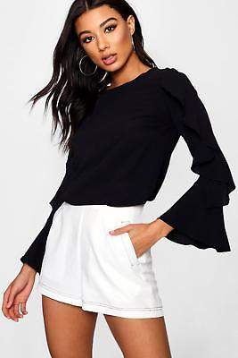 boohoo NEW Womens Faye Ruffle Sleeve Blouse in Black size 12