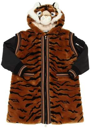 Dolce & Gabbana Tiger Hooded Faux Fur Coat