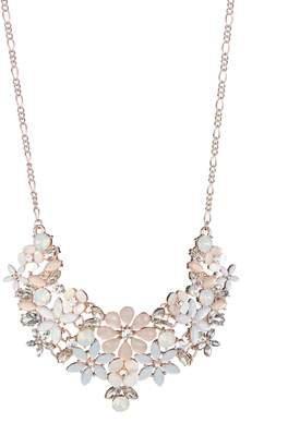 Etereo Commercial Fashion Silvertone, Acrylic Glass Floral Statement Necklace