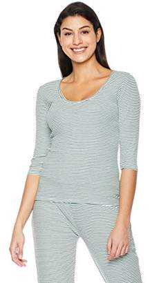 Rebel Canyon Young Womens 3/4 Sleeve Stripe Ribbed Top (