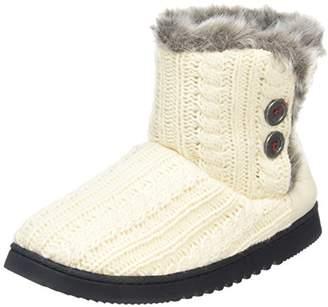 Dearfoams Women's Cable Knit Two-Button Boot with Memory Foam Hi-Top Slippers, Off White (Muslin 00120), 7-8 UK (40-41 EU)