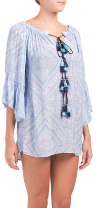Medallion Print Bell Sleeve Cover-up