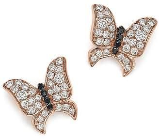 Bloomingdale's White and Black Diamond Butterfly Stud Earrings in 14K Rose Gold
