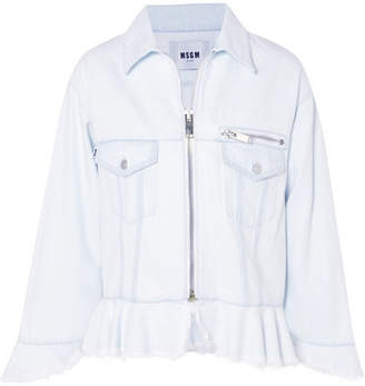 MSGM Frayed Denim Peplum Jacket - Light denim