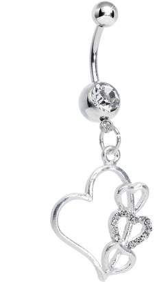 Body Candy Clear Hollow Heart Triple Dangle Belly Ring