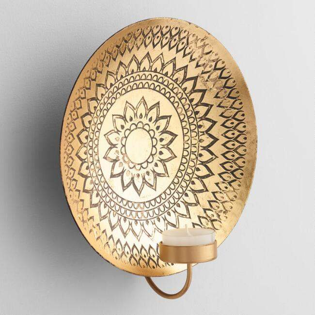 Kalini Antique Brass Medallion Sconce