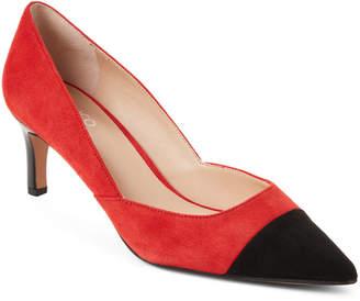 Franco Sarto Black & Red Apple Delight Pointed Toe Suede Pumps