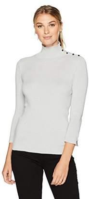 Ellen Tracy Women's Sleeve Slit Detail Turtleneck
