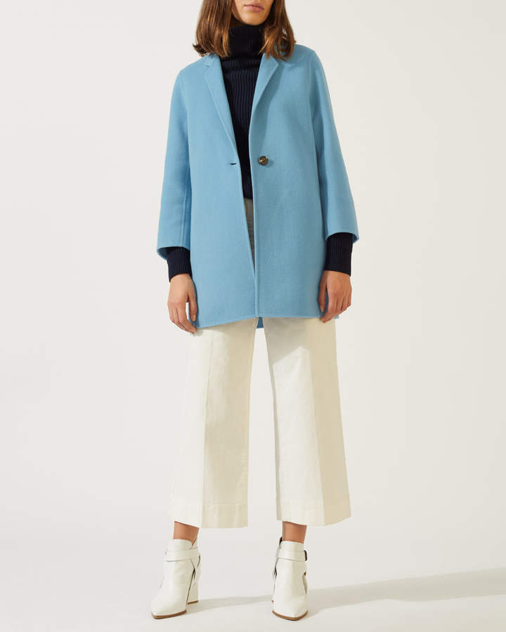 Double Face One Button Wool Coat