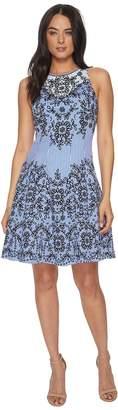 Maggy London Trailing Vine Cotton Sateen Fit Flare Women's Dress