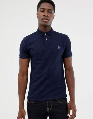 Polo Ralph Lauren slim fit pique polo player logo in navy marl