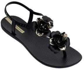 Ipanema Floral Jewelled PVC T-Strap Sandals