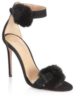 Aquazzura Mink Fur and Suede Ankle-Strap Sandals