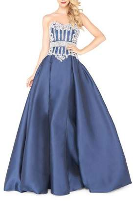 Mac Duggal Strapless Satin Ball Gown with Pearlescent Bustier