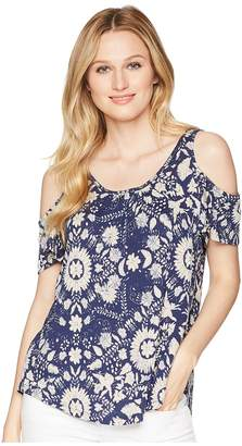 Lucky Brand Floral Cold Shoulder Top Women's Clothing