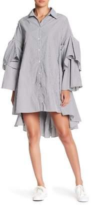 CQ by CQ Ruffle Stripe Hi-Lo Shirt Dress