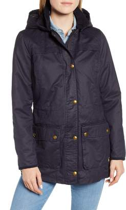 Joules Faux Wax Jacket with Detachable Hood