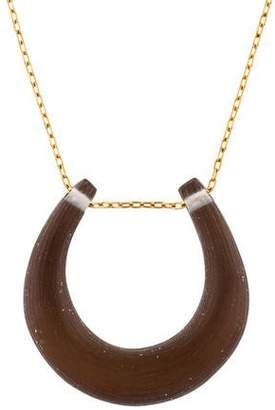 Alexis Bittar Lucite Horseshoe Pendant Necklace