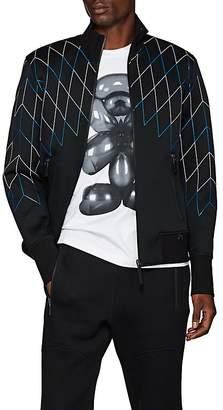 BLACKBARRETT Men's Abstract-Net Nylon & Cotton Bonded Piqué Bomber Jacket