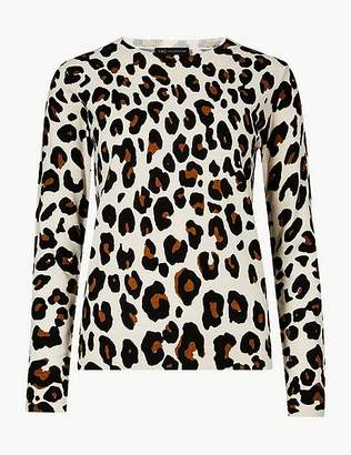 "Marks and Spencer Cashmilonâ""¢ Animal Print Crew Neck Jumper"