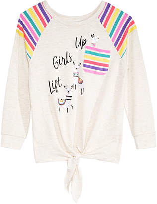 Belle Du Jour Big Girls Rainbow Striped Tie-Front Top