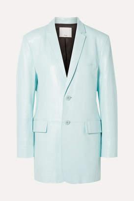 Tibi Oversized Glossed-leather Blazer - Turquoise