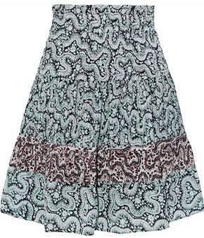 A.L.C. (エーエルシー) - A.l.c. Shirred Pleated Printed Silk-Crepe Mini Skirt