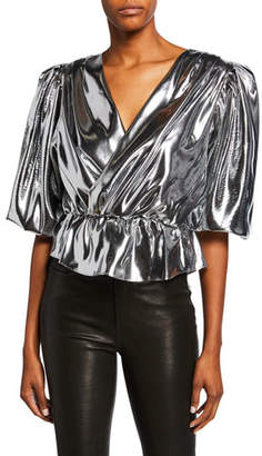 Isabel Marant Kyama Liquid Satin Halter Crop Top