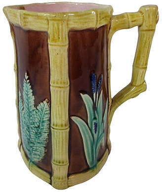 One Kings Lane Vintage Majolica Fern & Flower Beverage Pitcher