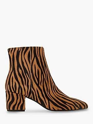 Dune Omarii Block Heel Ankle Boots, Tiger Print Hair