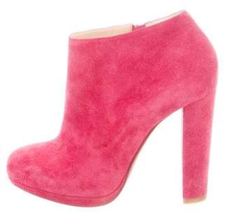 Christian Louboutin Suede Round-Toe Ankle Booties
