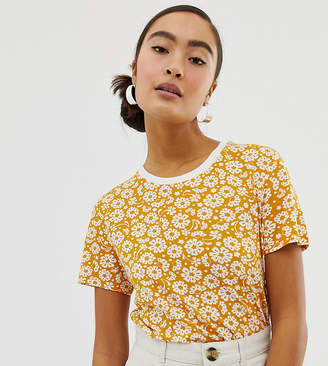 Monki crew neck t-shirt ditsy flower print in yellow