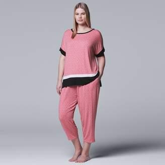 Vera Wang Plus Size Simply Vera Tee & Capri Pajama Set