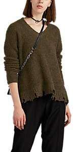 Women's Distressed Bouclé V-Neck Sweater - Green