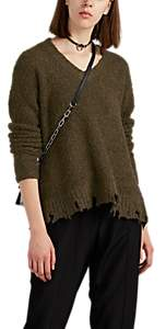 ATM Anthony Thomas Melillo Women's Distressed Bouclé V-Neck Sweater - Green