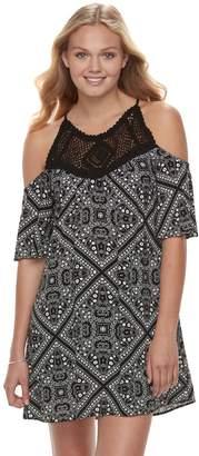 Speechless Juniors' Crochet Paisley Cold-Shoulder Dress