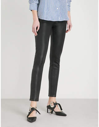 Paige Hoxton Ankle ultra-skinny high-rise coated stretch-denim jeans