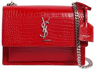 Saint Laurent Medium Sunset Croc Embossed Leather Bag