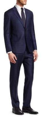 Giorgio Armani Classic Modern Fit Windowpane Check Wool Suit