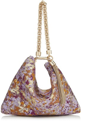 Jimmy Choo CALLIE Grape Mix Painterly Brocade Clutch Bag
