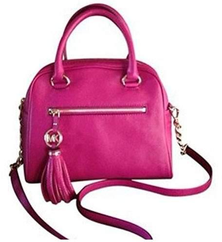 Michael Kors Knox Charm TasseL Bag Satchel Raspberry Medium - SILVER - STYLE