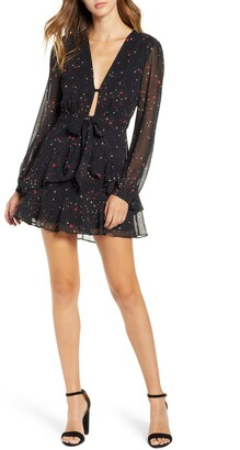 --- Star Print Ruffle Chiffon Dress