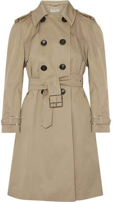 Miu Miu - Belted Cotton-blend Gabardine Trench Coat - Sand $2,055 thestylecure.com