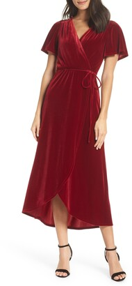 Chelsea28 Velvet Faux Wrap Midi Dress