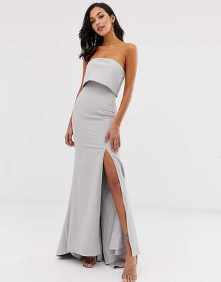 Jarlo bandeau overlay maxi dress in grey
